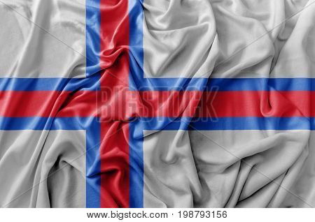 Ruffled waving Faroe Islands flag national flag