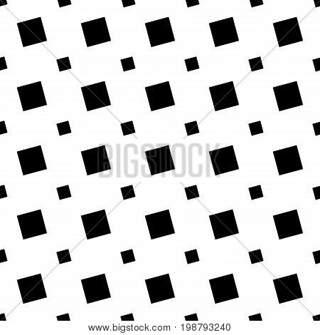 Monochrome seamless geometric square pattern - vector background graphic design from angular squares
