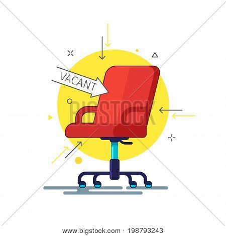 Concept of business hiring and recruiting. Office chair and a sign arrow vacant.