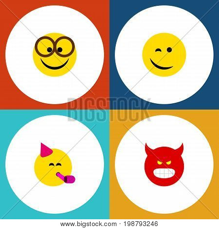 Flat Icon Face Set Of Party Time Emoticon, Winking, Pouting And Other Vector Objects