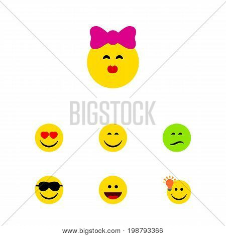 Flat Icon Emoji Set Of Frown, Laugh, Happy And Other Vector Objects