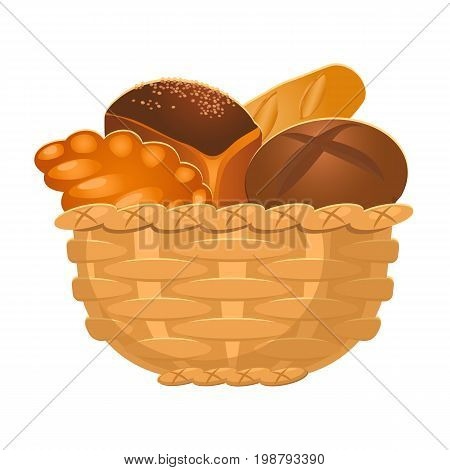 Closeup of big homemade wicker basket containing bakery products of various types isolated vector illustration on white in realistic style