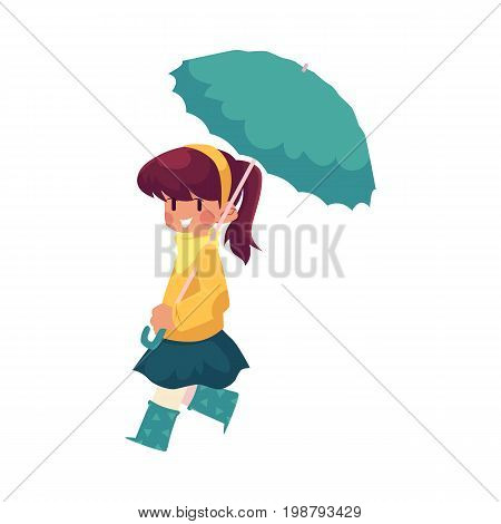 vector girl child wearing blue rubber boots, jacket walking keeping umbrella in hand. cartoon isolated illustration on a white background. Autumn activity kids concept