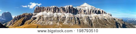 Autumnal view of Sella Gruppe and Piz Boe Dolomites mountains Italy
