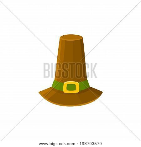 Comic style pilgrim hat, Thanksgiving Day symbol, cartoon vector illustration isolated on white background. Cartoon style pilgrim hat isolated on white background