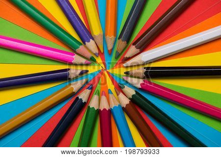 Colorful crayons. Many different colored pencils. Colored drawing pencils in a variety of colors
