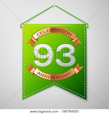 Realistic Green pennant with inscription Ninety three Years Anniversary Celebration Design on grey background. Golden ribbon. Colorful template elements for your birthday party. Vector illustration