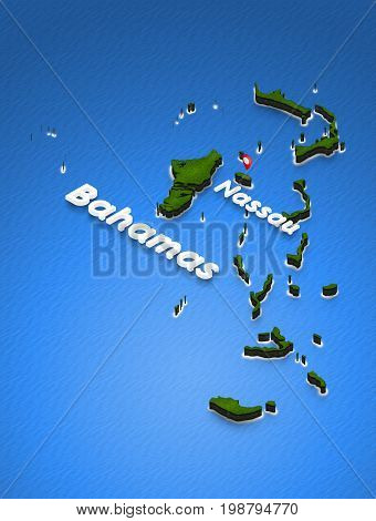 Map Of Bahamas. 3D Isometric Perspective Illustration.