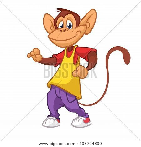 Cool monkey dancing in modern clothes. Vector flat cartoon illustration. Chimpanzee mascot outlined