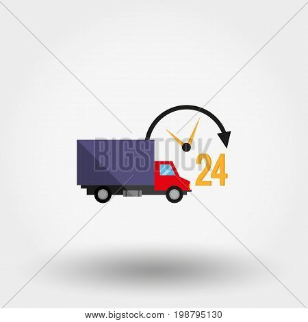 Car service. Delivery 24 hours a day. Icon for web and mobile application. Vector illustration on a white background. Flat design style
