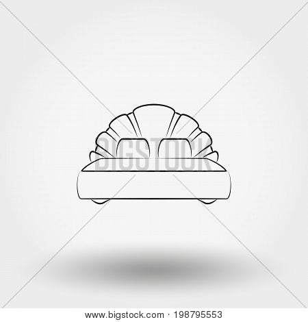 Double bed. Icon for web and mobile application. Vector illustration on a white background. Art Line.