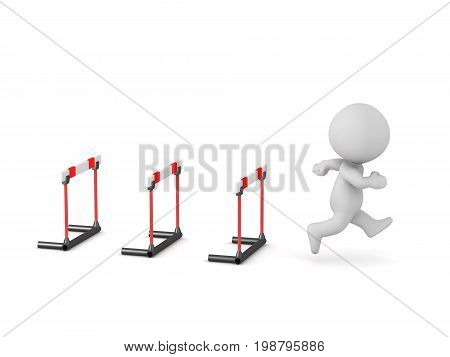3D character running past hurdle barriers. Isolated on white background.