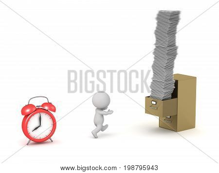 3D character running away from an alarm clock toward a filing cabinet filled with a stack of paperwork. Isolated on white background.
