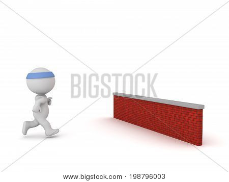 3D character is jogging toward a red brick wall. Isolated on white background.