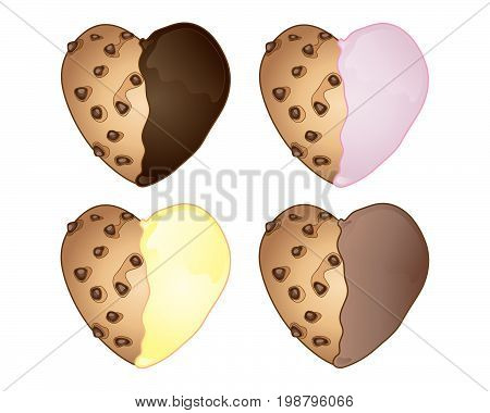 an illustration of four novelty heart shaped cookies with chocolate and fruit frosting on a white background