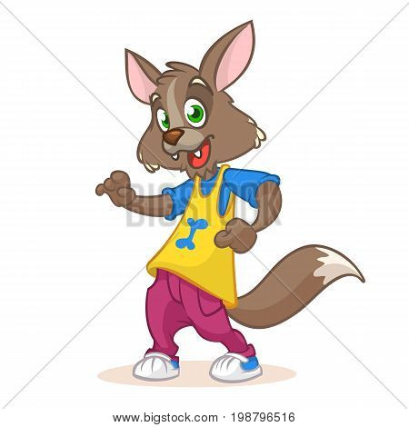 Dancing Wolf mascot: funny dancing wolf disco style cartoon character. Vector illustration