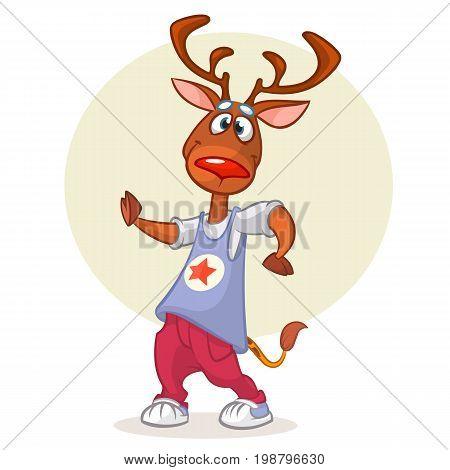 Cartoon deer dancing. Vector illustration of happy reindeer dancing disco or hip-hop. Design for mascot poster or icon