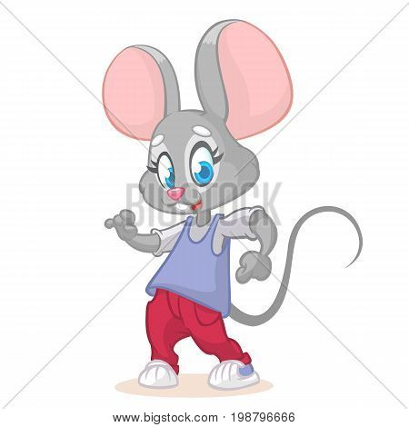 Illustration of a dancing mouse. Hipster cartoon mouse posing. Vector image of pretty mouse mascot