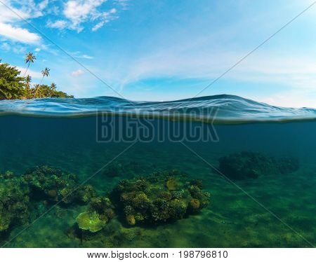 Double landscape with sea and sky. Split photo with tropical island and underwater coral reef. Clear blue sky and seawater. Above and below waterline seaview. Exotic seashore panorama. Split seascape