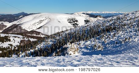 Panoramic wintry view from Velka Fatra mountains ridge to High Tatras mountains