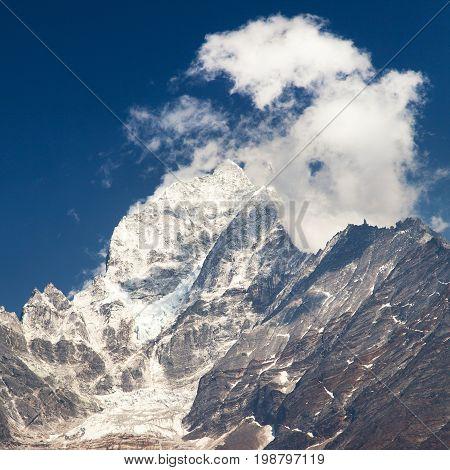 View of mount Kangtega one from the best mouns around Namche Bazar Khumbu valley Sagarmatha national park Nepal