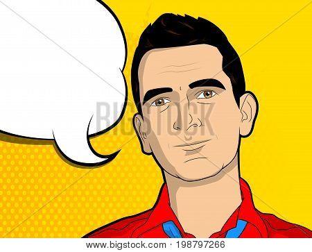 Pop Art man with blank speech bubble - comic book style cartoon vector illustration.