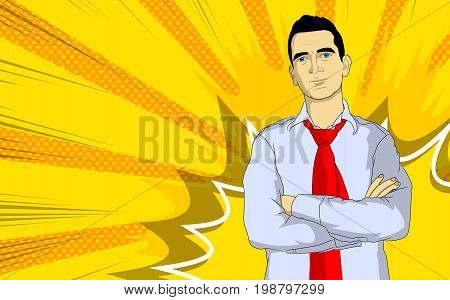 Pop Art Businessman - comic book style cartoon man in shirt and necktie with crossed arms