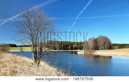 Autumnal view of pond Bohemian and Moravian highland Czech Republic