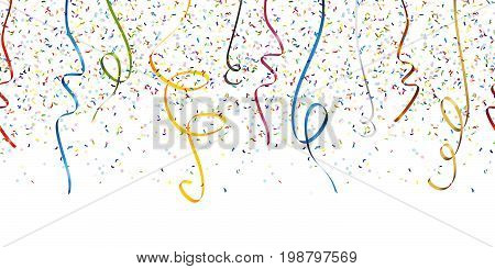 Seamless Confetti And Streamer Party Background