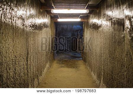 Empty corridor in the salt mine in Turda town Romania.