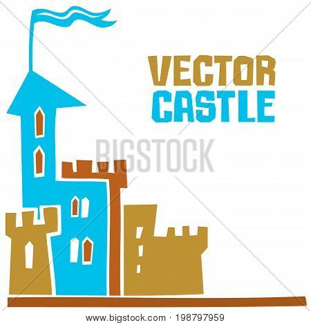 Simple fantastic Tower Vector castle. Use it for Exterior construction design: city buildings tourist signs. Beautiful old town cottage and colorful cityscape. Isolated on a white background