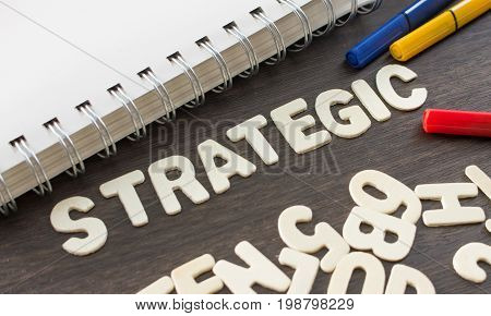 Strategic Banner,word decorate with pen and book.