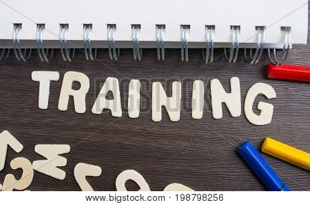 Business Training banner ,Training word decorate with book and pen.