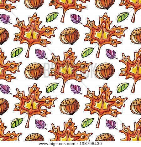 Autumn seamless pattern with leaves and hazelnut fall leaf background. Abstract floral texture. Colorful cartoon backdrop. Cute template for fashion prints seasonal sale. Vector design elements