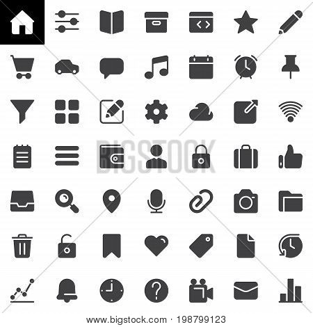 Basic UI vector icons set, modern solid symbol collection, filled style pictogram pack. Signs, logo illustration. Set includes icons as home, settings, book, user, cloud, wallet, tag, clock lock pin