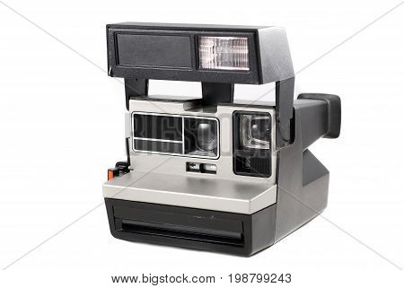 Instant camera isolated on white background, retro