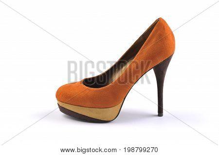 Orange shoe heels isolated on white background