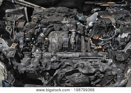 Automotive, Burned Car Engine
