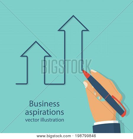 Business aspirations. Success achievement concept. Way Up. Pen in hand draw ladder ascending. Vector illustration flat design. Isolated on background. Motivation to achieve goal.