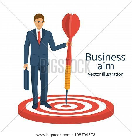 Aim in business concept. Successful businessman hold arrow in hand, achievement goal. Human with briefcase isolated background. Vector illustration flat design. Aspirational people. Mission achieved.