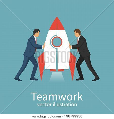 Teamwork concept business people Symbol of working together, cooperation, partnership metaphor. Two businessmen connecting puzzle rocket. Vector illustration flat style design. Solution collaboration.