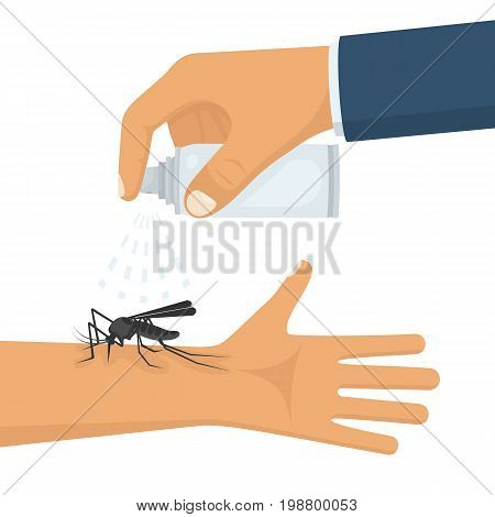 Mosquito spray in hand human. Man spraying insect repellents on skin outdoor. Spray bottle in arm. Pest control. Vector illustration flat design. Isolated on white background. Mosquito protection.