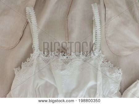 light cotton female clothes background beautiful texture