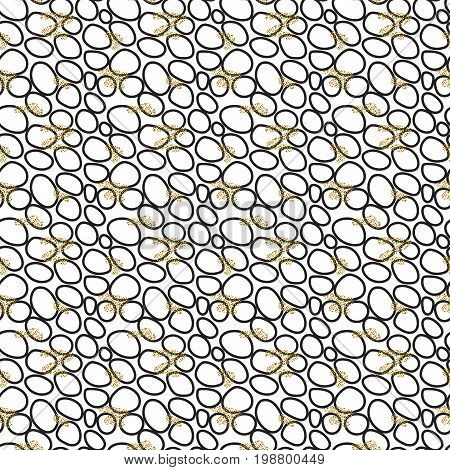 Abstract small black pebble circles seamless pattern on white. Monochrome colors with glitter accent background.