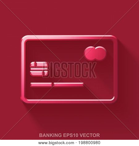 Flat metallic currency 3D icon. Red Glossy Metal Credit Card icon with transparent shadow on Red background. EPS 10, vector illustration.