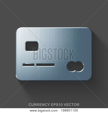 Flat metallic banking 3D icon. Polished Steel Credit Card icon with transparent shadow on Gray background. EPS 10, vector illustration.
