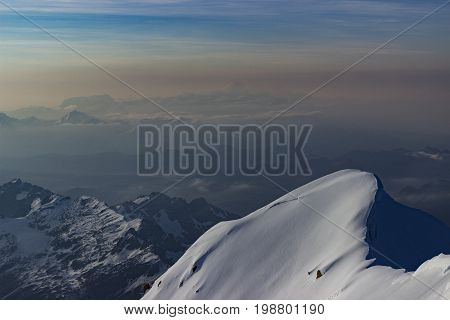 From Huayna Potosi Summit there is an amazing view of Bolivia