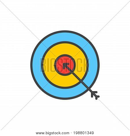 Target, goal filled outline icon, line vector sign, linear colorful pictogram isolated on white. Bullseye symbol, logo illustration. Pixel perfect vector graphics