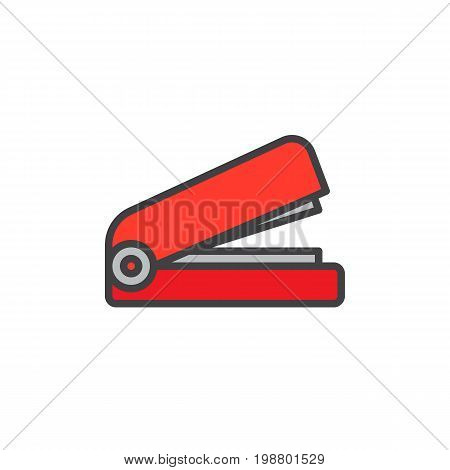 Stapler filled outline icon, line vector sign, linear colorful pictogram isolated on white. Stationery symbol, logo illustration. Pixel perfect vector graphics