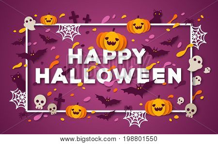 Halloween typography design with abstract color paper cut shapes and Halloween icons. Vector illustration. Trick or Treat poster concept with square frame. Pumpkin, Spider Web and Skull